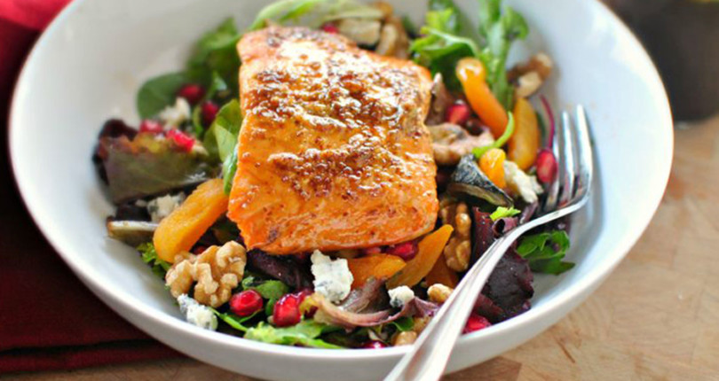 Broiled Glazed Salmon Winter Salad
