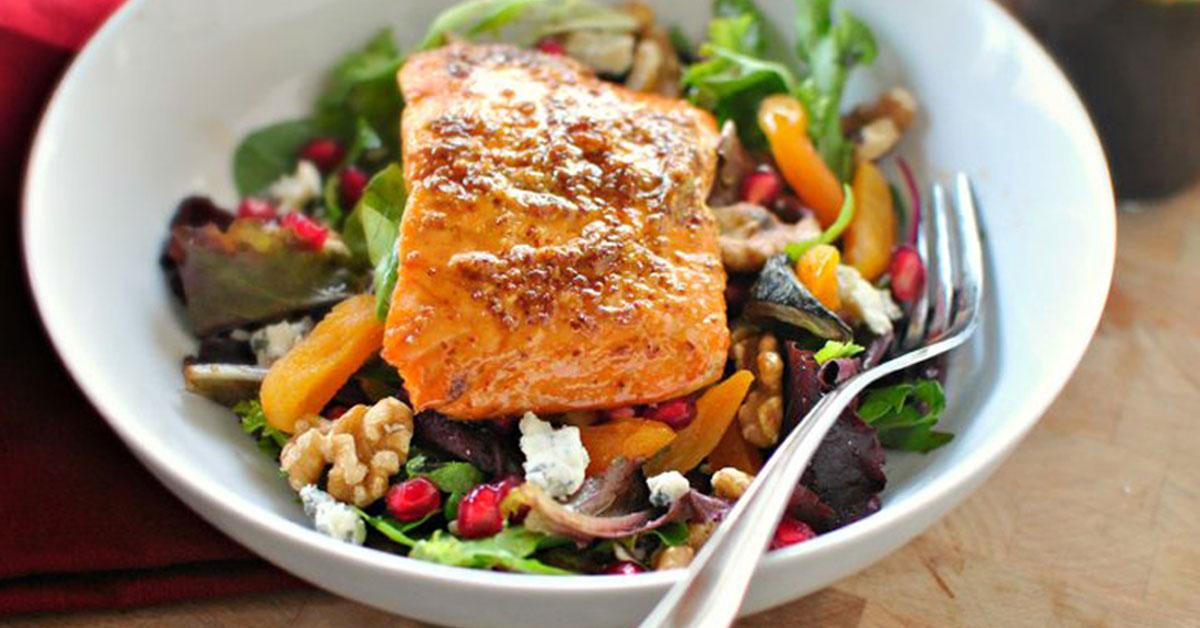 Broiled Glazed Salmon Winter Salad