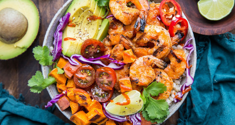 BBQ shrimp and sweet potato bowls