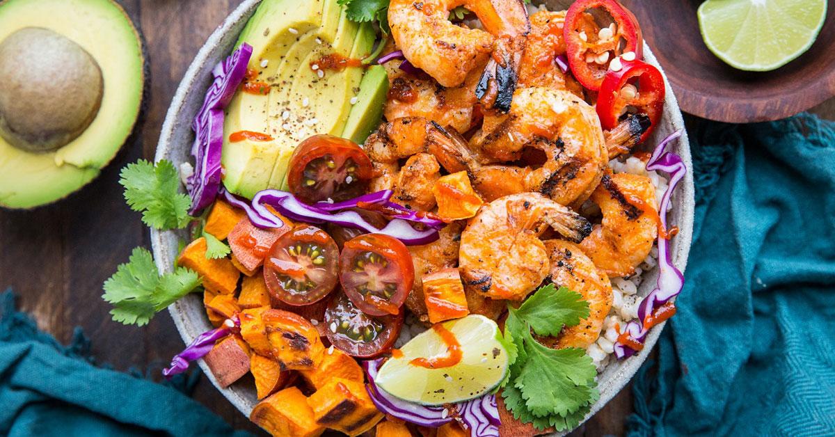 BBQ shrimp and sweet potato bowls