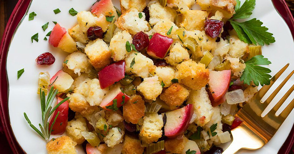 Apple Cranberry Rosemary Stuffing